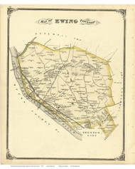 Ewing Township, New Jersey 1875 Old Town Map Reprint - Mercer Co.