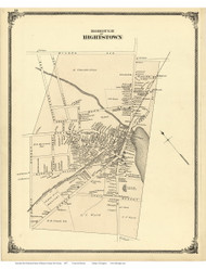 Hightstown - East Windsor, New Jersey 1875 Old Town Map Reprint - Mercer Co.