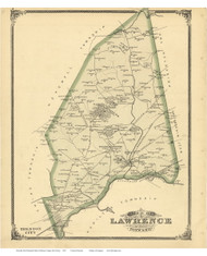 Lawrence Township, New Jersey 1875 Old Town Map Reprint - Mercer Co.