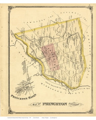 Princenton Township and Princeton Basin, New Jersey 1875 Old Town Map Reprint - Mercer Co.