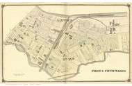 1st & 5th Wards - Trenton, New Jersey 1875 Old Town Map Reprint - Mercer Co.