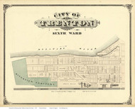 6th Ward - Trenton, New Jersey 1875 Old Town Map Reprint - Mercer Co.