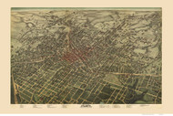 Atlanta, Georgia 1892 Bird's Eye View - Old Map Reprint