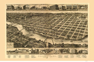 Columbus, Georgia 1886 Bird's Eye View - Old Map Reprint