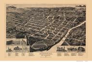 Macon, Georgia 1887 Bird's Eye View - Old Map Reprint