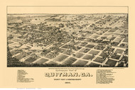 Quitman, Georgia 1885 Bird's Eye View - Old Map Reprint