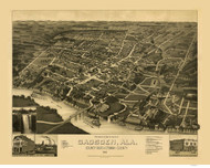 Gasden, Alabama 1887 Bird's Eye View