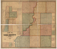 Vigo County, Indiana 1858 - Old Map Reprint