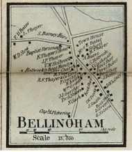 Bellingham Village, Massachusetts 1858 Old Town Map Custom Print - Norfolk Co.