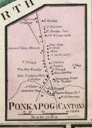 Ponkapog Village, Massachusetts 1858 Old Town Map Custom Print - Norfolk Co.