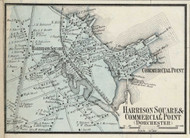 Harrison Square and Commercial Point Villages, Massachusetts 1858 Old Town Map Custom Print - Norfolk Co.