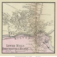 Lower Mills Village, Massachusetts 1858 Old Town Map Custom Print - Norfolk Co.