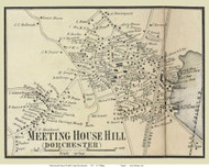 Meeting House Hill Village, Massachusetts 1858 Old Town Map Custom Print - Norfolk Co.