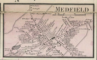 Medfield Village, Massachusetts 1858 Old Town Map Custom Print - Norfolk Co.