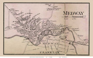 Medway Village, Massachusetts 1858 Old Town Map Custom Print - Norfolk Co.
