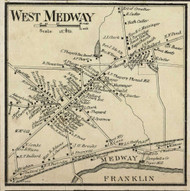 West Medway Village, Massachusetts 1858 Old Town Map Custom Print - Norfolk Co.