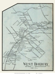 West Roxbury Village, Massachusetts 1858 Old Town Map Custom Print - Norfolk Co.