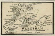 Wrentham Village, Massachusetts 1858 Old Town Map Custom Print - Norfolk Co.