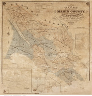 Marin County California 1873 - Old Map Reprint