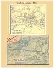 Brighton and North Brighton Villages, Massachusetts 1856 Old Town Map Custom Print - Middlesex Co.