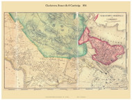 Charlestown, Somerville and Cambridge Villages, Massachusetts 1856 Old Town Map Custom Print - Middlesex Co.