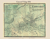 Concord Village, Massachusetts 1856 Old Town Map Custom Print - Middlesex Co.