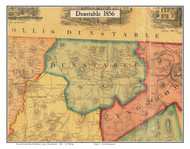 Dunstable, Massachusetts 1856 Old Town Map Custom Print - Middlesex Co.