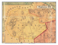 Hopkinton, Massachusetts 1856 Old Town Map Custom Print - Middlesex Co.