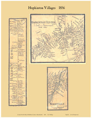 Hopkinton Center, Hayden Row and Woodville Villages, Massachusetts 1856 Old Town Map Custom Print - Middlesex Co.