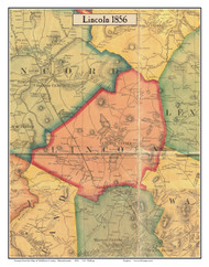 Lincoln, Massachusetts 1856 Old Town Map Custom Print - Middlesex Co.