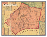 Marlborough, Massachusetts 1856 Old Town Map Custom Print - Middlesex Co.
