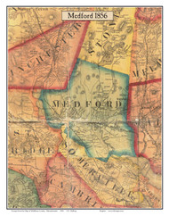Medford, Massachusetts 1856 Old Town Map Custom Print - Middlesex Co.