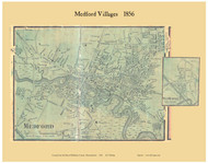 Medford and West Medford Villages, Massachusetts 1856 Old Town Map Custom Print - Middlesex Co.