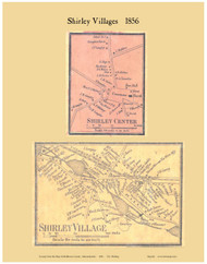 Shirley and Shirley Center Villages, Massachusetts 1856 Old Town Map Custom Print - Middlesex Co.