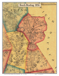 South Reading, Massachusetts 1856 Old Town Map Custom Print - Middlesex Co.