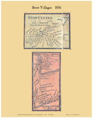 Stow Center and Rockbottom Villages, Massachusetts 1856 Old Town Map Custom Print - Middlesex Co.