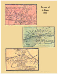 Townsend Centre, Townsend Harbor and West Townsend Villages, Massachusetts 1856 Old Town Map Custom Print - Middlesex Co.