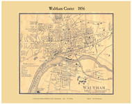Waltham Village, Massachusetts 1856 Old Town Map Custom Print - Middlesex Co.