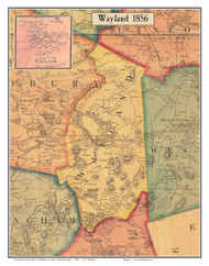 Wayland, Massachusetts 1856 Old Town Map Custom Print - Middlesex Co.