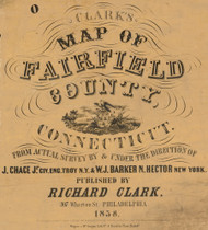 Fairfield County Cartouche, Connecticut 1858 Fairfield Co. - Old Map Custom Print