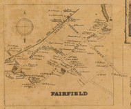 Fairfield Village, Connecticut 1858 Fairfield Co. - Old Map Custom Print