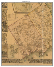 Greenwich, Connecticut 1858 Fairfield Co. - Old Map Custom Print