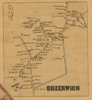Greenwich Village, Connecticut 1858 Fairfield Co. - Old Map Custom Print