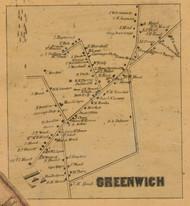 Greenwich Village, Connecticut 1858 Fairfield Co. - Old Map Custom Print