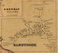 Sandy Hook, Connecticut 1858 Fairfield Co. - Old Map Custom Print