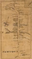 Newtown Village, Connecticut 1858 Fairfield Co. - Old Map Custom Print