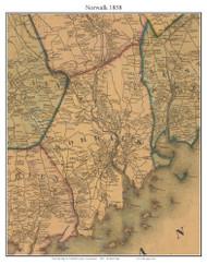 Norwalk, Connecticut 1858 Fairfield Co. - Old Map Custom Print