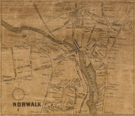 Norwalk Village, Connecticut 1858 Fairfield Co. - Old Map Custom Print