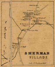 Sherman Village, Connecticut 1858 Fairfield Co. - Old Map Custom Print