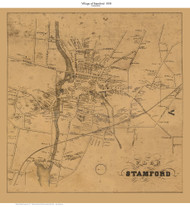 Stamford Village, Connecticut 1858 Fairfield Co. - Old Map Custom Print